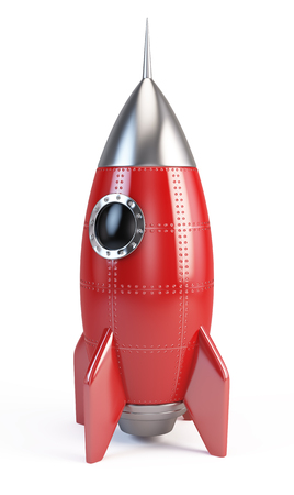 booster: Rocket space ship isolated on white
