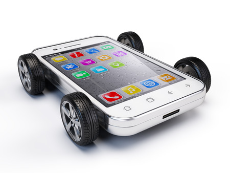 Smartphone on wheels 版權商用圖片
