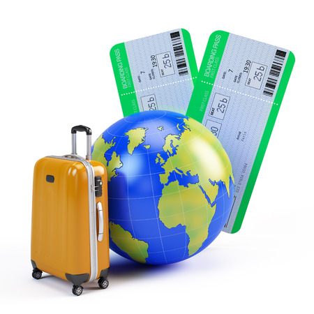 carryall: Globe, suitcase and airline tickets - travel icon