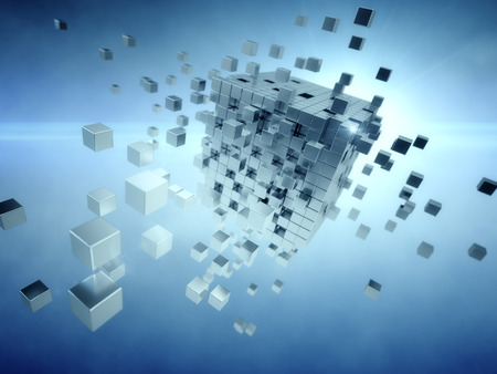 Cube assembling from  many blocks