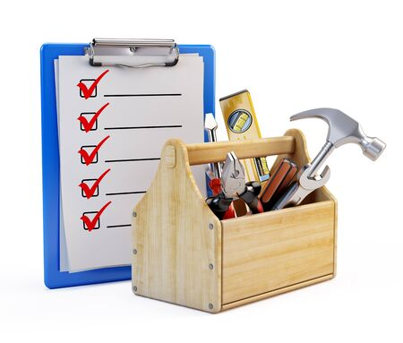 tackle box: Clipboard and toolbox with tools