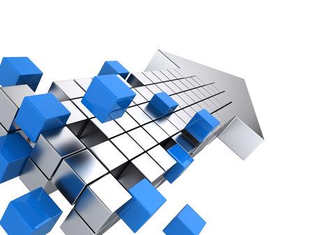 teamwork business concept - arrow assembling from blocks Foto de archivo