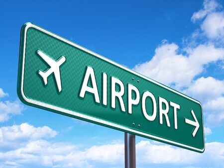 aerodrome: Airport direction road sign Stock Photo
