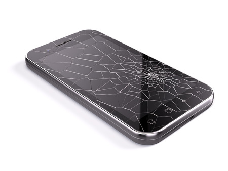 broken screen: Smartphone with broken screen