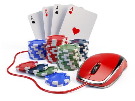 gambling counter: Online casino concept Stock Photo