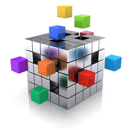 business concept - cube assembling from blocks