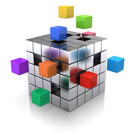 business concept - kubus samenstellen uit blokken