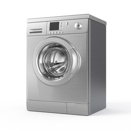 Washing machine isolated on white - 3d render Foto de archivo