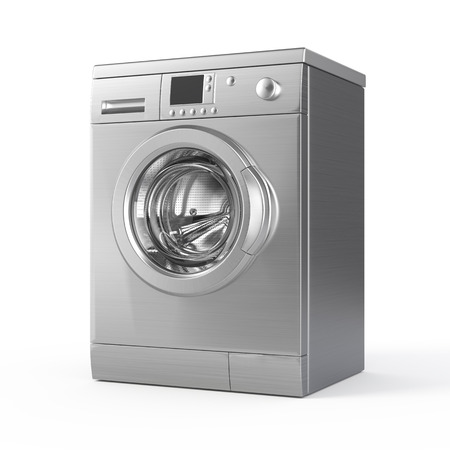Washing machine isolated on white - 3d render Archivio Fotografico