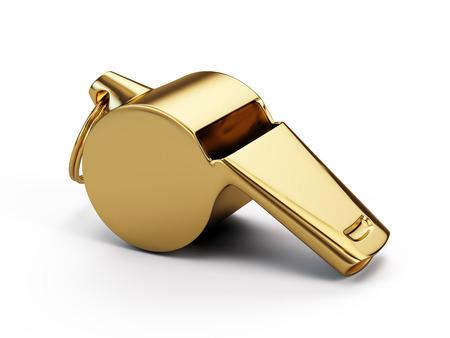 Gouden fluitje op wit wordt geïsoleerd Stockfoto