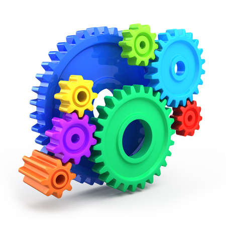 puzzle corners: Colorful gear wheels - tools and settings icon Stock Photo