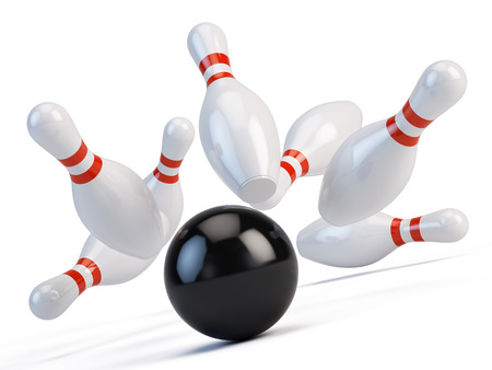 destroying the competition: Bowling ball  and scattered skittle Stock Photo