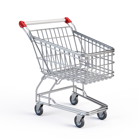 shopping cart: Supermarket shopping cart isolated on white
