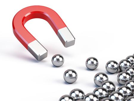 iman: Concepto de negocio - imán atrae esferas