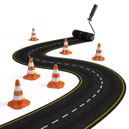 tourism industry: Roller brush painting road - Road construction concept