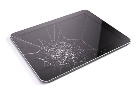broken screen: Tablet pc with broken screen