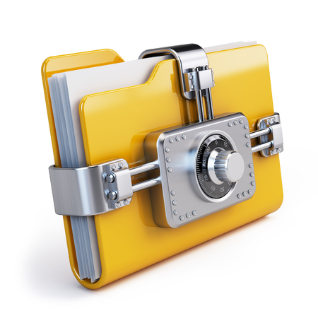 combination lock: Data security concept. Locked folder with combination lock
