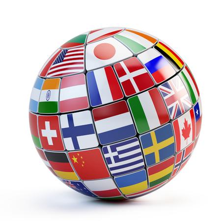 banderas del mundo: Banderas del mundo en el mundo aislado en blanco Foto de archivo