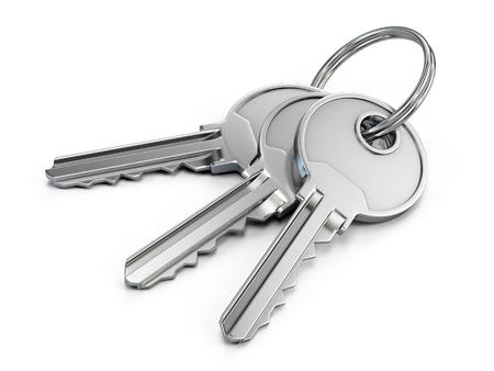 Klucze drzwi izolowane na białym tle - 3d render Zdjęcie Seryjne
