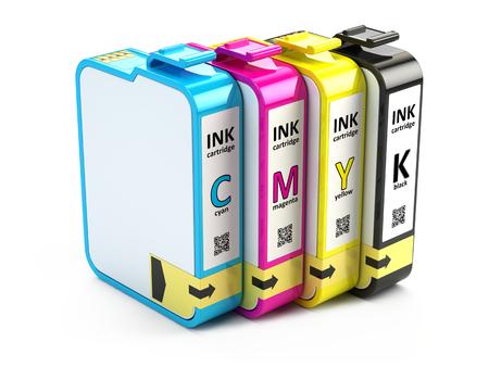 CMYK cartridges isolated on white background 写真素材