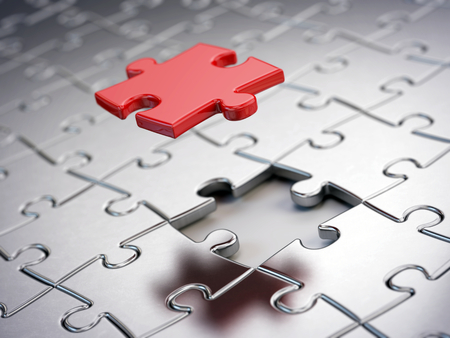 business puzzle: Falling Red puzzle piece