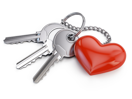 keys isolated: Keys with red heart isolated on white background