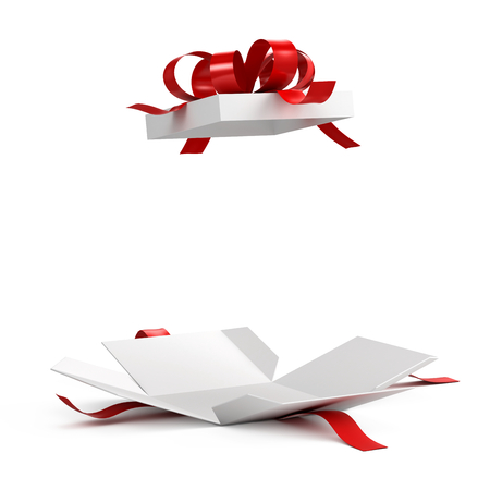 Open gift box with red ribbon on white background