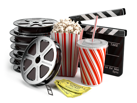 Cinema concept: Clapper board, film reels, popcorn, cola, cinema tickets Archivio Fotografico