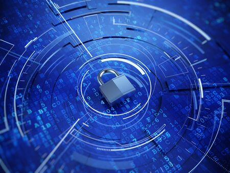 Padlock on digital backgroud - Privacy concept