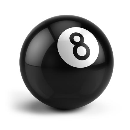 bola ocho: Billar billar bola ocho aislado en un blanco Foto de archivo