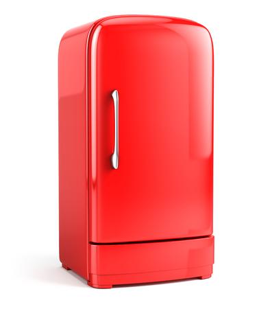 bacground: Red Retro fridge isolated on white bacground