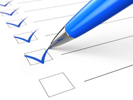 Checklist concept - checklist, paper and pen Imagens