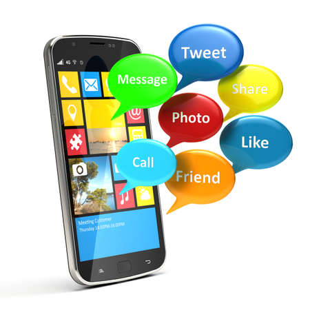 annotation: smartphone with social media bubbles