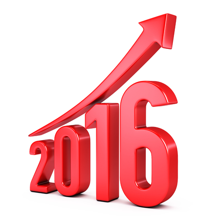 turns of the year: red 2015  year with arrow up - growth concept Stock Photo