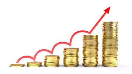 Business success concept -  Coins chartand arrow UP