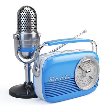 Microphone and retro radio 版權商用圖片 - 62429898
