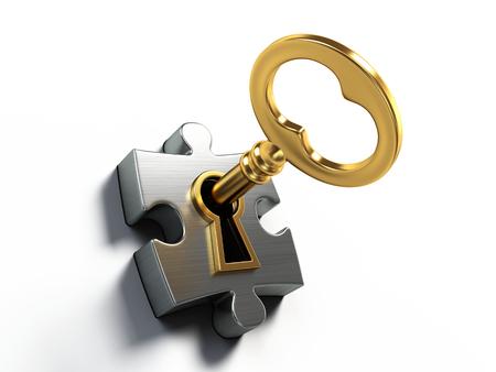 Złoty klucz i puzzle na białym