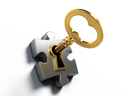 Zlatý klíč a puzzle izolovaných na bílém