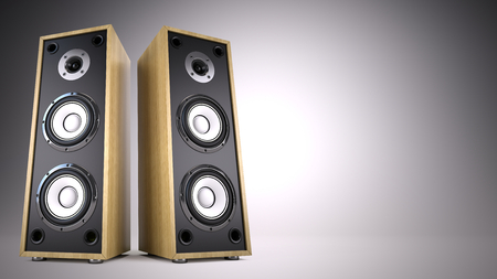 two party system: Two Big Audio Speakers boxes with empty space ?  advertisement, music, concert, audio concept