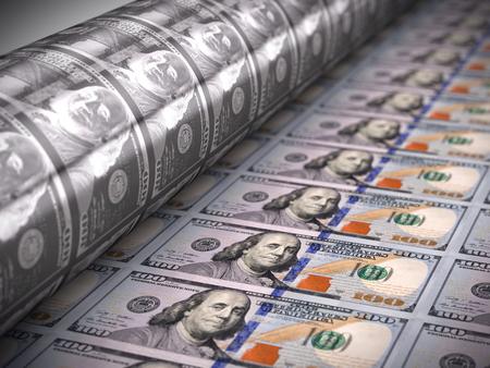 valor: La impresión de dinero - billetes de 100 dólares
