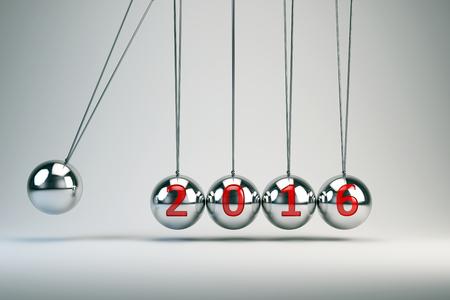 coordinated: New Year 2016 - Balancing Balls Newtons Cradle Stock Photo