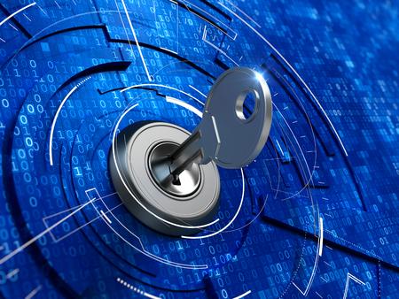 keylock: Digital security concept -  key in keyhole