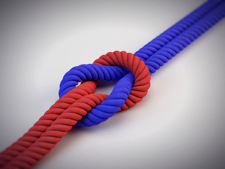 two different ropes with knot
