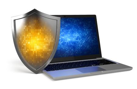 노트북 보호 방패 - 컴퓨터 보안, 바이러스 백신, 방화벽 개념