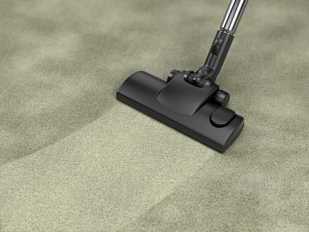 Vacuum cleaner cleans dirty carpet - house cleaning concept