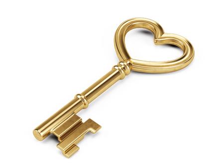 Key vormige hart met lege tag op wit wordt geïsoleerd