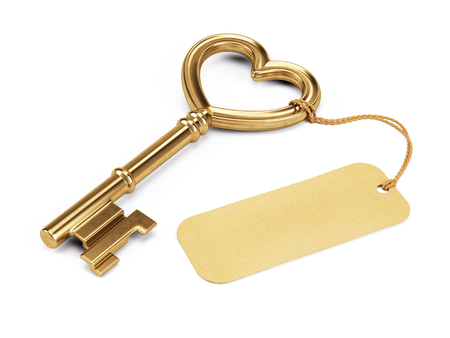 Key shaped heart with blank tag isolated on white