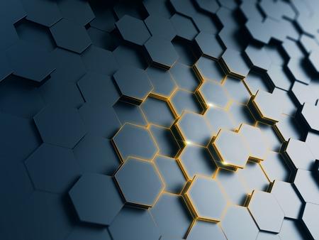 render: hexagonal abstract background - 3d render