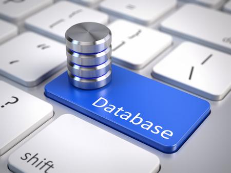 database icon on computer keyboard - database concept