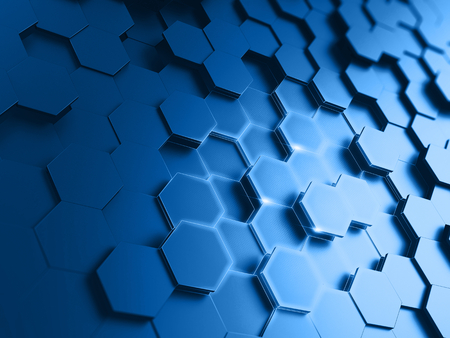 blue light background: exagonal abstract background - 3d render Stock Photo
